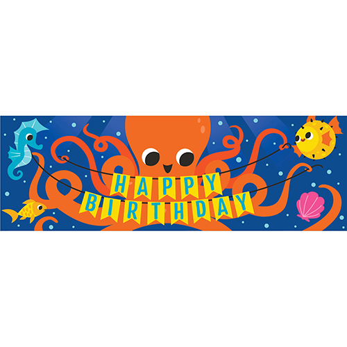 Ocean Celebration Happy Birthday Plastic Giant Banner 152cm