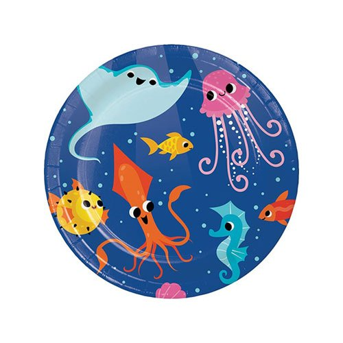 Ocean Celebration Round Paper Plates 17cm - Pack of 8 Product Image