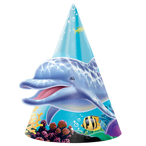 Ocean Party Cone Hats - Pack of 8