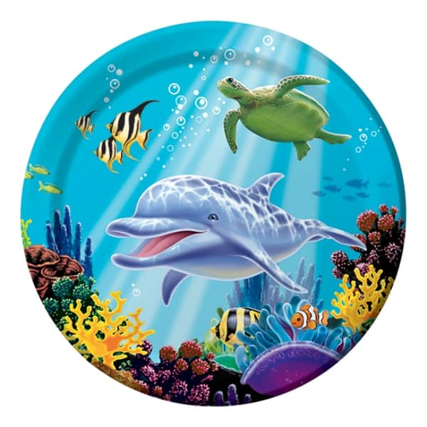 Ocean Party Round Paper Plate - 8 Inches / 22cm