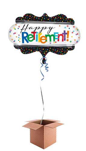 Happy Retirement Helium Foil Giant Balloon - Inflated Balloon in a Box