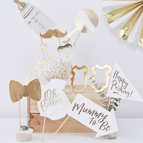 Oh Baby Gold Foiled Baby Shower Photo Booth Props - Pack of 10