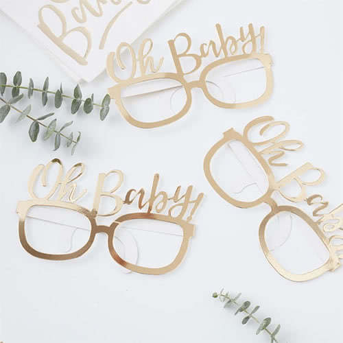 Oh Baby Gold Foiled Paper Glasses - Pack of 8
