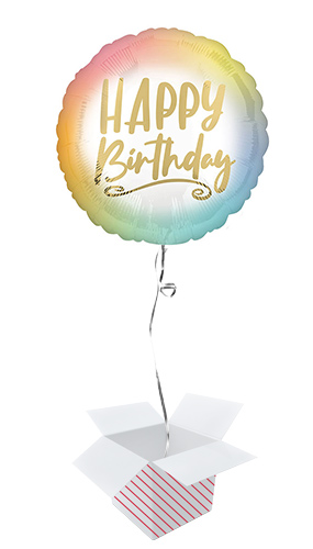Ombre & Gold Happy Birthday Round Foil Helium Balloon - Inflated Balloon in a Box