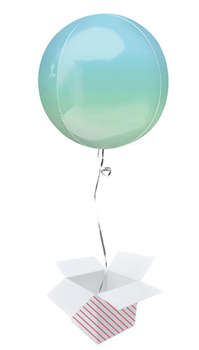 Ombre Blue And Green Orbz Foil Helium Balloon - Inflated Balloon in a Box Product Image