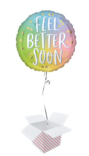 Ombre Feel Better Soon Round Foil Helium Balloon - Inflated Balloon in a Box