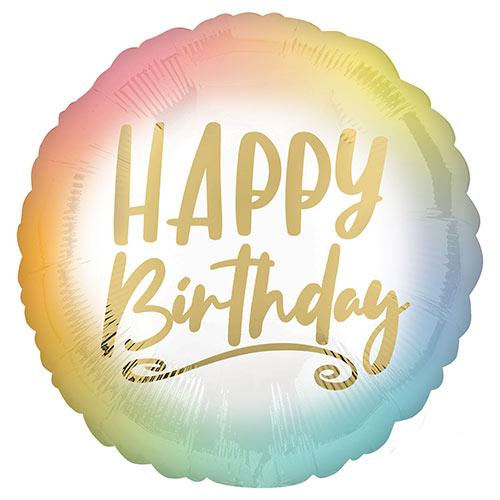 Ombre & Gold Happy Birthday Round Foil Helium Balloon 43cm / 17 in