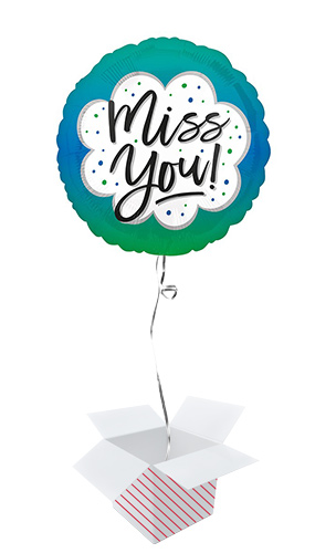 Ombre Miss You Round Foil Helium Balloon - Inflated Balloon in a Box