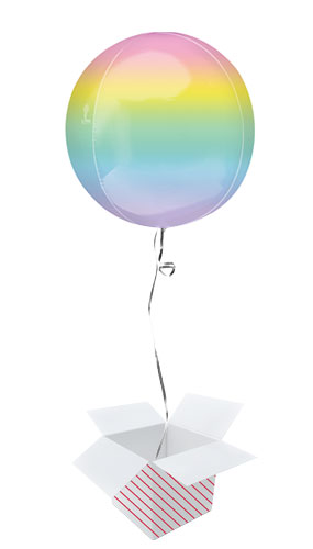 Ombre Pastel Orbz Foil Helium Balloon - Inflated Balloon in a Box