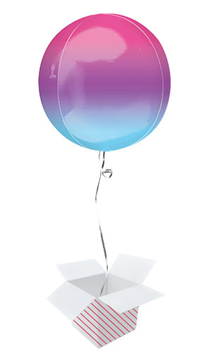 Ombre Purple And Blue Orbz Foil Helium Balloon - Inflated Balloon in a Box
