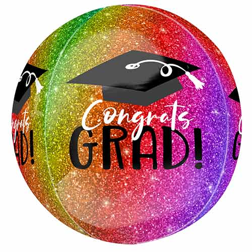 Ombre Sparkle Congrats Grad Orbz Foil Helium Balloon 38cm / 15 in