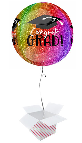 Ombre Sparkle Congrats Grad Orbz Foil Helium Balloon - Inflated Balloon in a Box