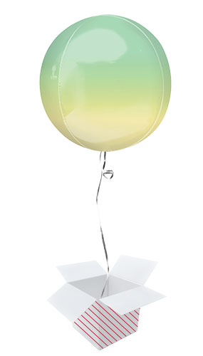 Ombre Yellow And Green Orbz Foil Helium Balloon - Inflated Balloon in a Box Product Image