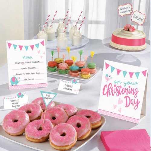 On your Christening Day Pink Buffet Decoration Kit