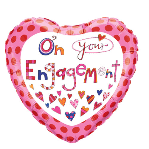 On Your Engagement Heart Shape Foil Helium Qualatex Balloon 46cm / 18 in Product Image