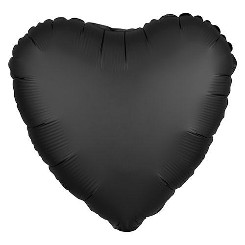 Onyx Black Satin Luxe Heart Shape Foil Helium Balloon 43cm / 17 in