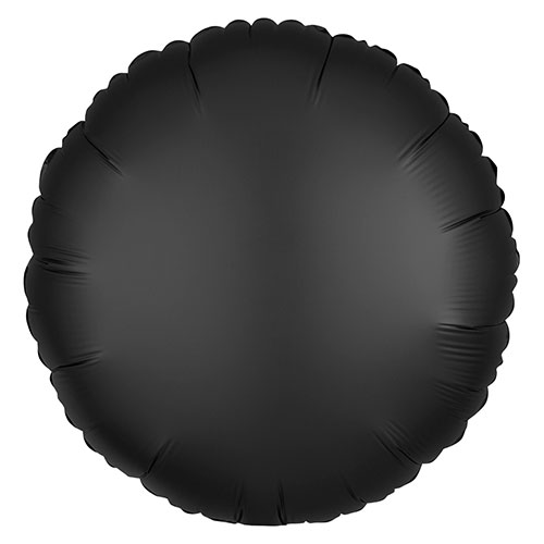 Onyx Black Satin Luxe Round Shape Foil Helium Balloon 43cm / 17 in Product Image