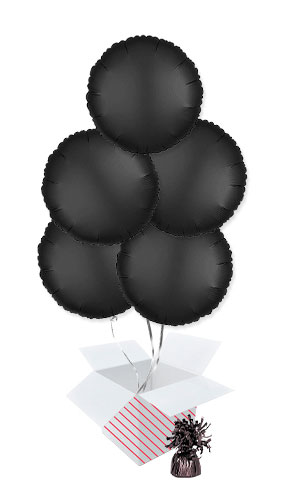 Onyx Black Satin Luxe Round Shape Foil Helium Balloon Bouquet - 5 Inflated Balloons In A Box Product Image