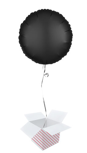 Onyx Black Satin Luxe Round Shape Foil Helium Balloon - Inflated Balloon in a Box