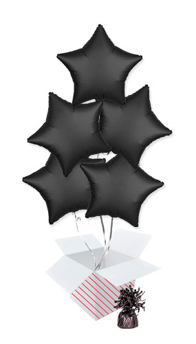 Onyx Black Satin Luxe Star Shape Foil Helium Balloon Bouquet - 5 Inflated Balloons In A Box Product Image