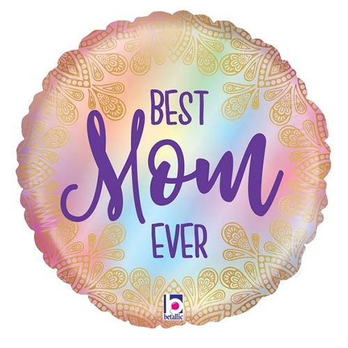 Opal Best Mom Ever Boho Round Foil Helium Balloon 53cm / 21 in