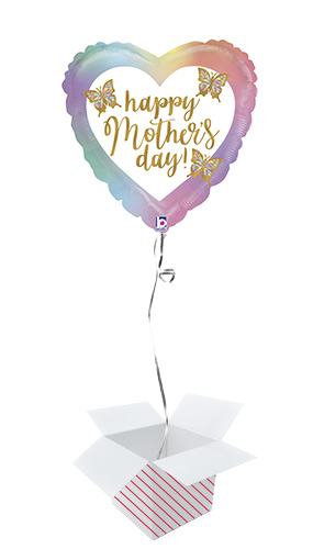 Opal Happy Mother's Day Butterfly Holographic Heart Foil Helium Balloon - Inflated Balloon in a Box