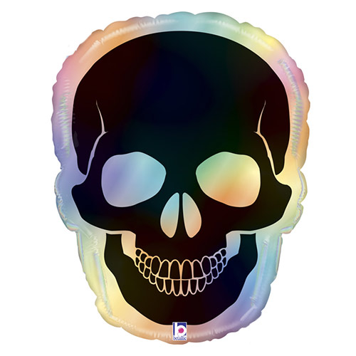 Halloween Opal Skull Rainbow Holographic Helium Foil Giant Balloon 69cm / 27 in Product Image