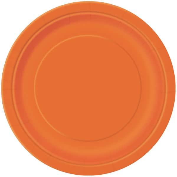 Orange Round Paper Plates 22cm - Pack of 16