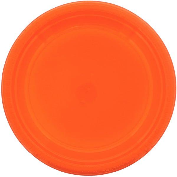 Orange Round Plastic Plates 23cm - Pack of 20