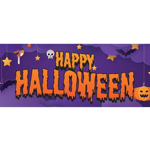 Orange Happy Halloween Slime PVC Party Sign Decoration 60cm x 25cm Product Image
