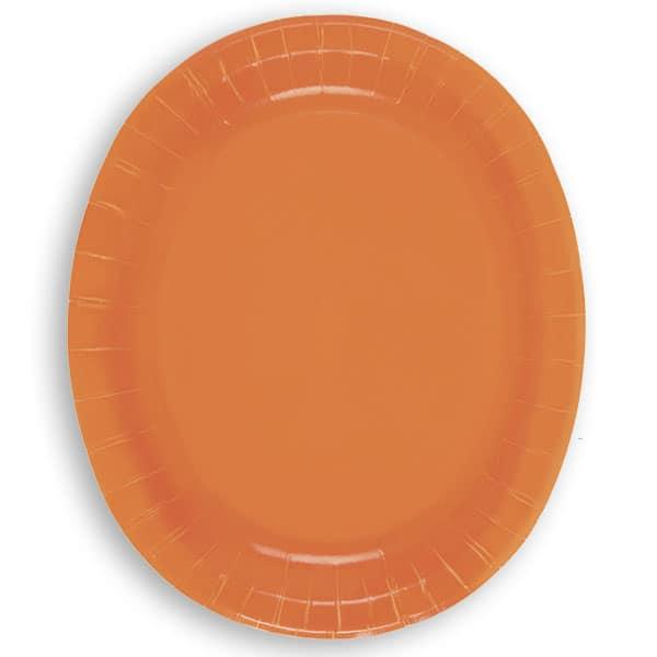 Orange Oval Paper Plates 30cm - Pack of 8