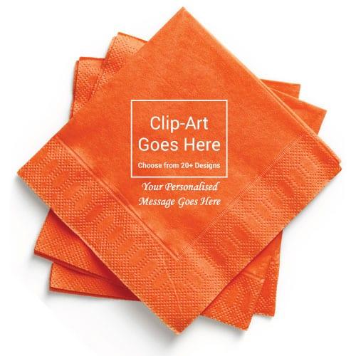 Orange Personalised Napkin - Pack of 50