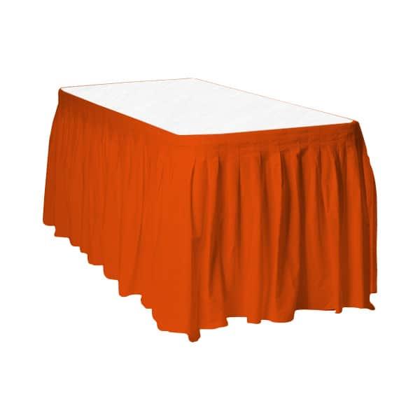 Orange Plastic Table Skirt - 426cm x 74cm