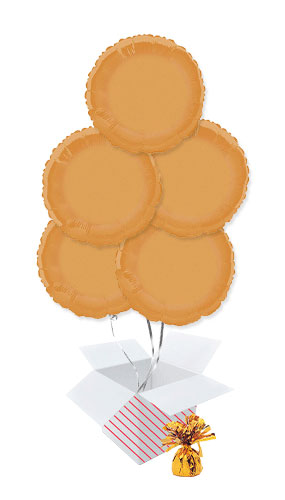 Orange Round Foil Helium Balloon Bouquet - 5 Inflated Balloons In A Box