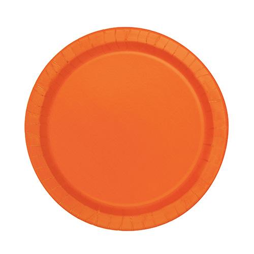 Orange Round Paper Plates 17cm - Pack of 20 Product Image