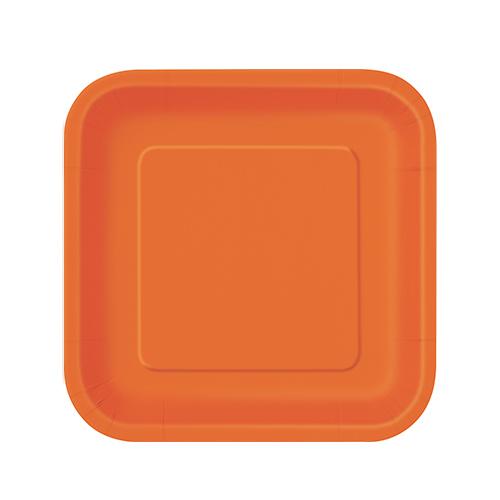Orange Square Paper Plates 17cm - Pack of 16