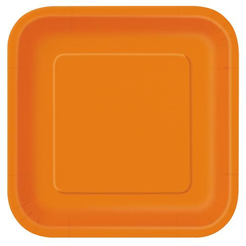 Orange Square Paper Plates 22cm - Pack of 14 Product Image