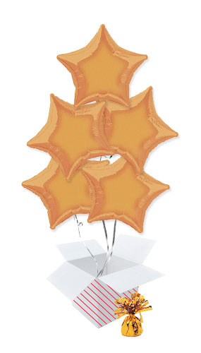 Orange Star Foil Helium Balloon Bouquet - 5 Inflated Balloons In A Box