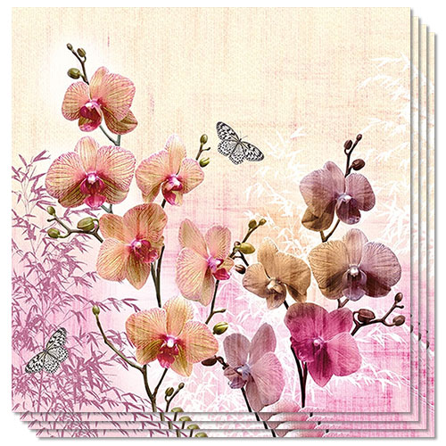Orchids Orient Premium Luncheon Napkins 3Ply 33cm - Pack of 20 Product Image