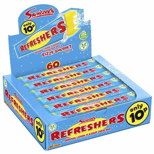 Original Lemon Swizzels Refresher Chew Bars Vegetarian Sweets - Pack of 60 Product Image