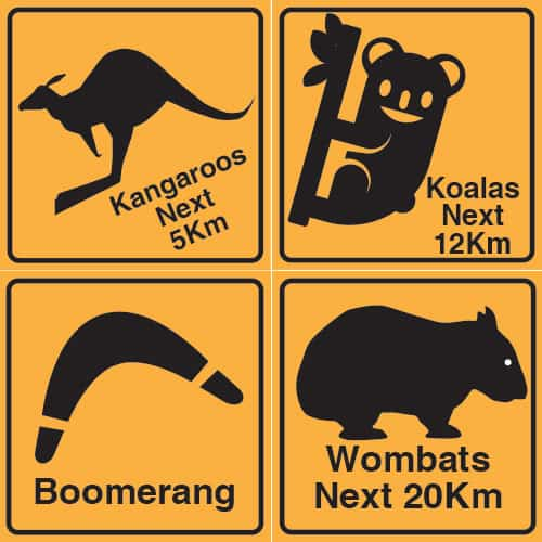 Outback Road Sign Decorations 30cm - Pack of 4