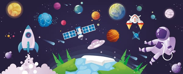 Outer Space Design Small Personalised Banner - 4ft x 2ft