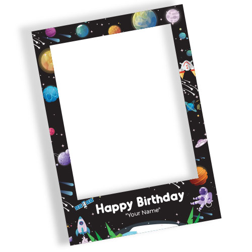 Outer Space Happy Birthday Black Personalised Selfie Frame Photo Prop