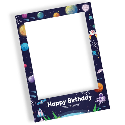 Outer Space Happy Birthday Navy Blue Personalised Selfie Frame Photo Prop