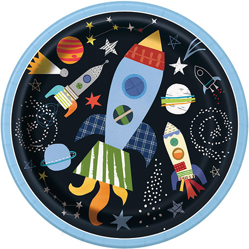 Outer Space Round Paper Plates 22cm - Pack of 8