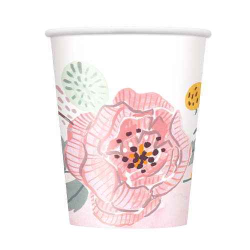 Painted Floral Wedding Paper Cups 270ml - Pack of 8  Product Image
