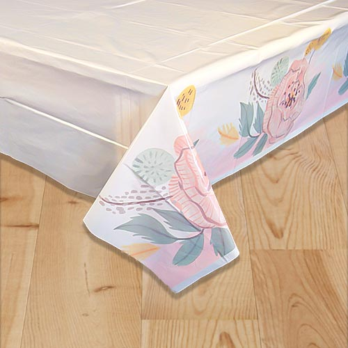 Painted Floral Wedding Plastic Tablecover 213cm x 137cm