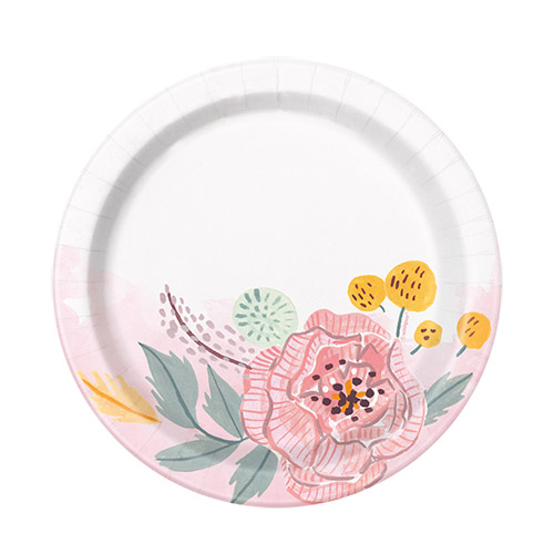 Painted Floral Wedding Round Paper Plates 17cm - Pack of 8