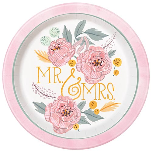 Painted Floral Wedding Round Paper Plates 22cm - Pack of 8