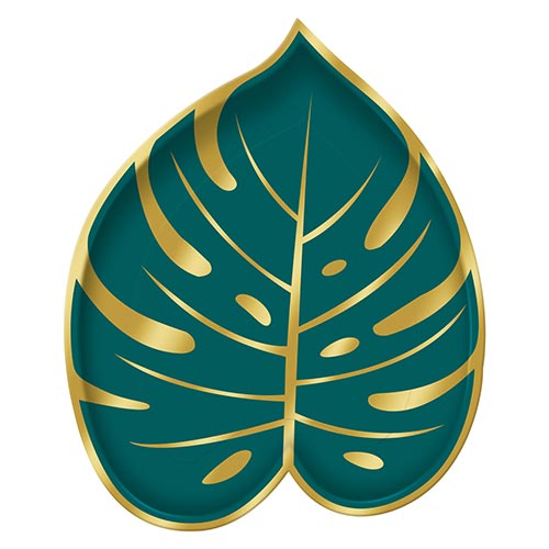 Palm Leaf Shaped Metallic Paper Plates 23cm - Pack of 8